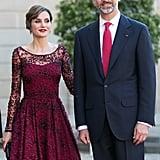 Queen Letizia Burgundy Dress