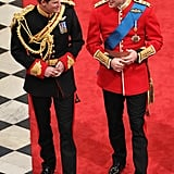 Harry shared a smile with William on his and Kate Middleton's wedding day in April 2011.