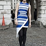 If you're going to brave the cold with bare arms, it may as well be to show off a stunning David Koma dress!
