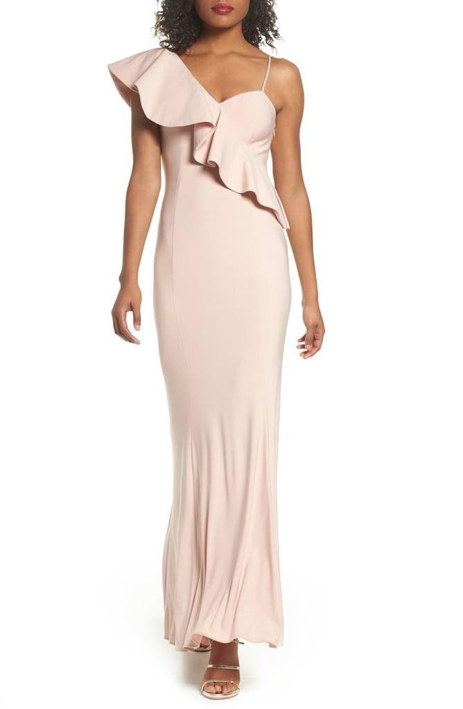 Xscape Evenings Ruffle Knit One-Shoulder Gown | Beth\'s Pink Dress in ...