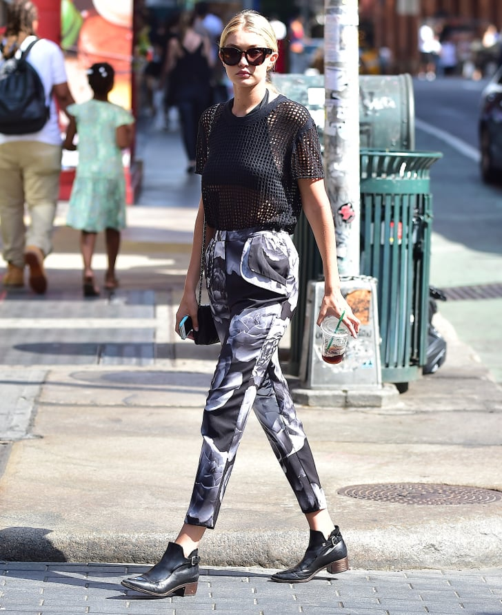 Gigi stepped up her casual style with printed pants and ...