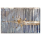 Blue Stripes and Gold Burst Canvas Print