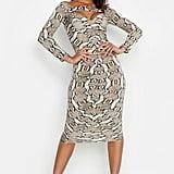 Boohoo Snake Print Off-the-Shoulder Ruched Detail Midi Dress