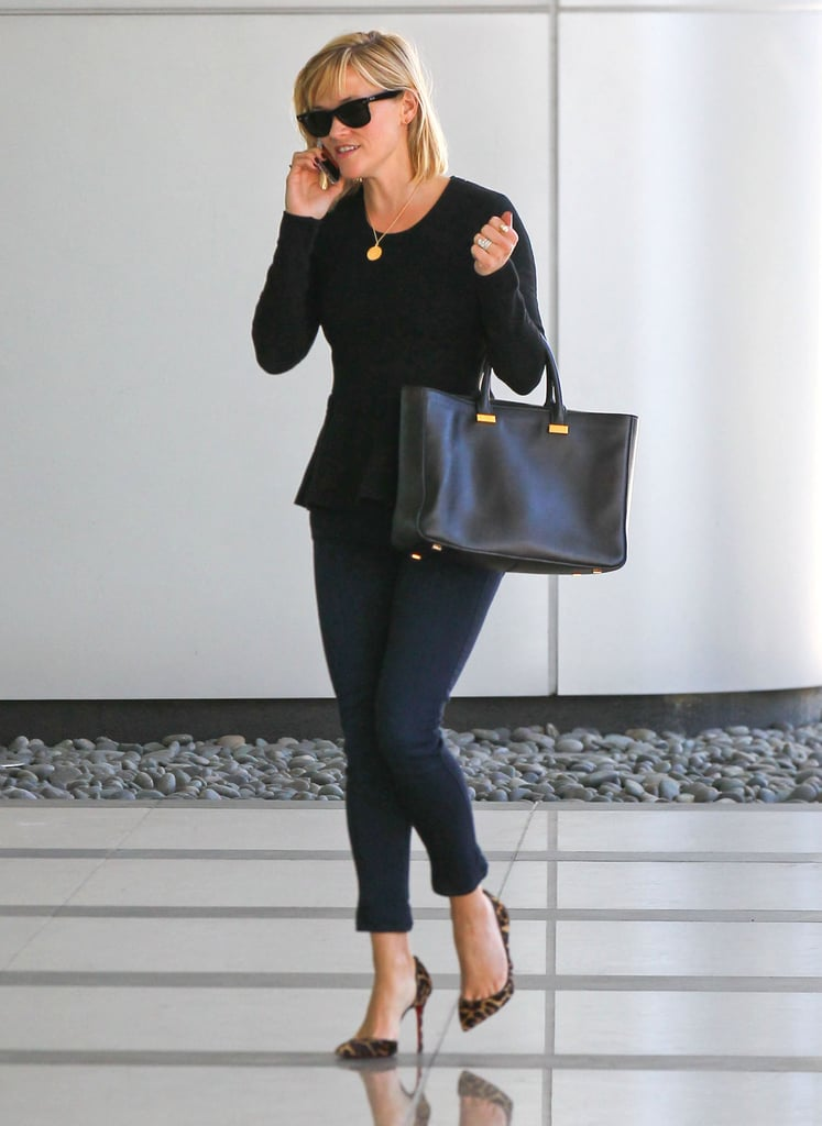 For a meeting in Beverly Hills, the star looked sweet in a black peplum top, leopard Christian Louboutins, and a polished leather tote by The Row.