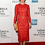 Emily Blunt wore a lace red dress to the premiere of Your Sister's Sister during the 2012 Tribeca Film Festival.
