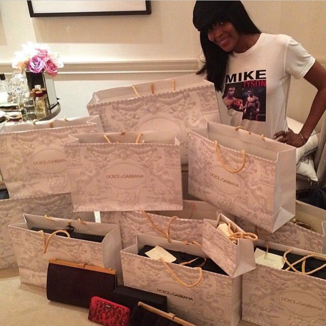 Naomi Campbell was surrounded by presents from Dolce & Gabbana on Christmas Eve.