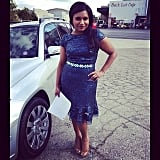 Mindy Kaling sported a sequined dress on the set of The Mindy Project. Source: Instagram user mindykaling