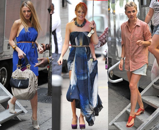 Pictures of Blake Lively Katie Cassidy Clemence Poesy On Gossip Girl Set