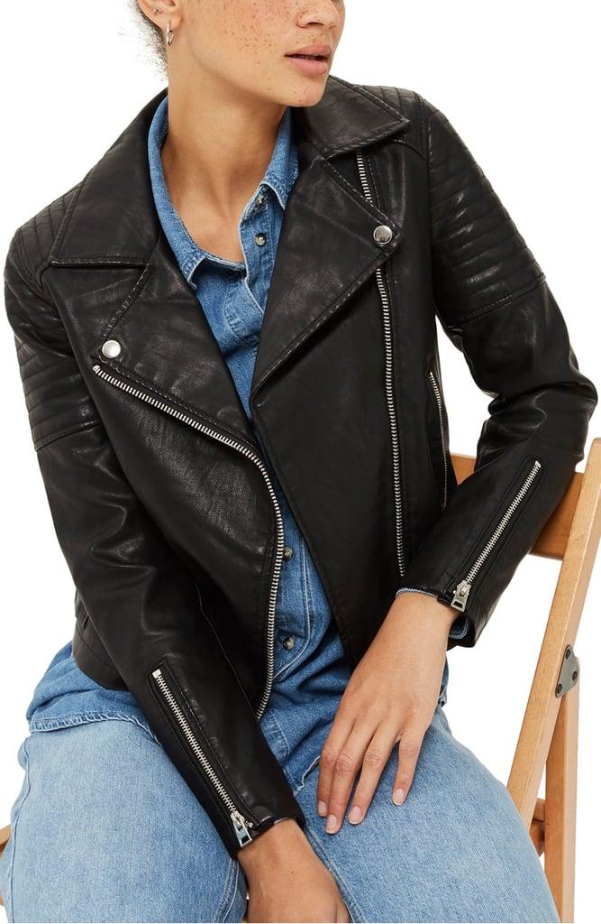 Topshop Blossom Faux Leather Biker Jacket