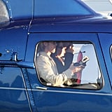Brad Pitt rode in a helicopter.