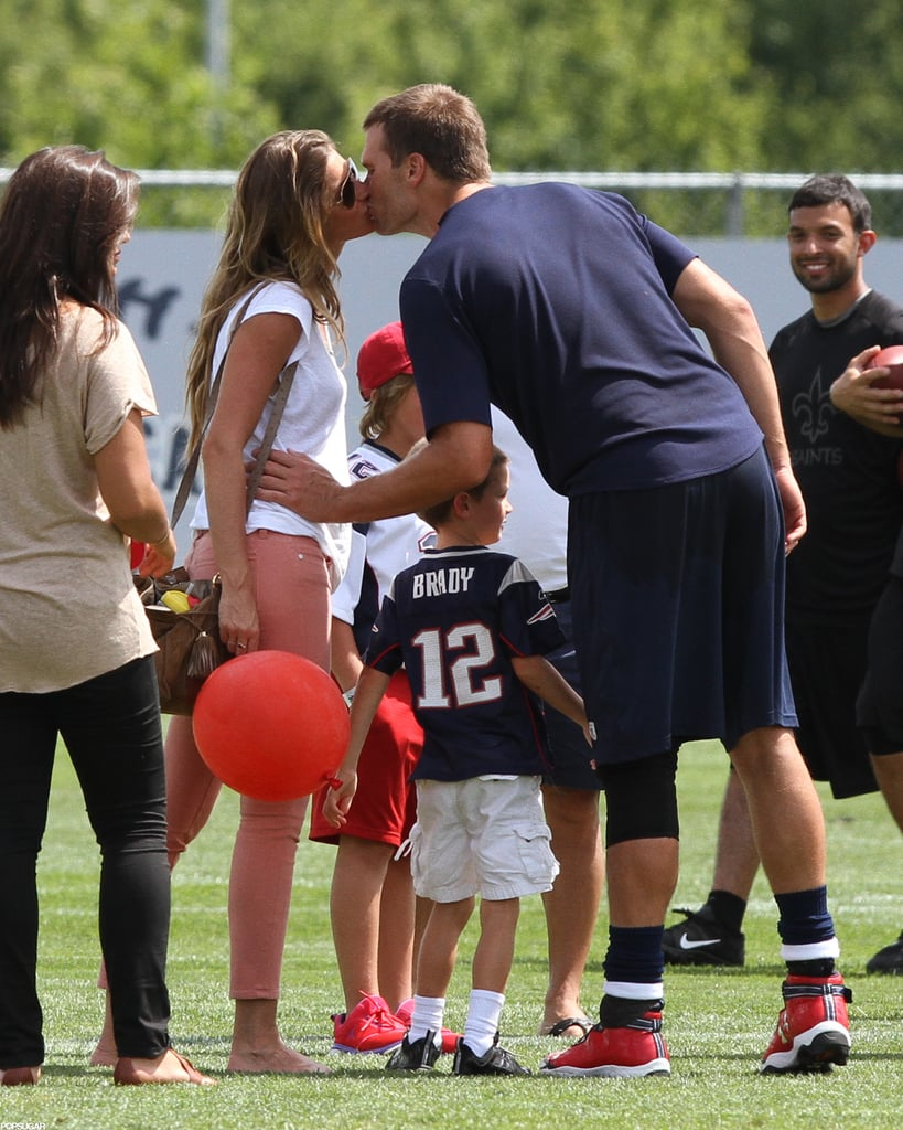 This is such a great photo of the Gisele Bundchen and Tom Brady bunch. Gisele was newly pregnant with Vivian, Jack Moynahan was wearing his dad's jersey, and Tom couldn't help but kiss his gorgeous wife.  — Michelle Manning, editorial assistant