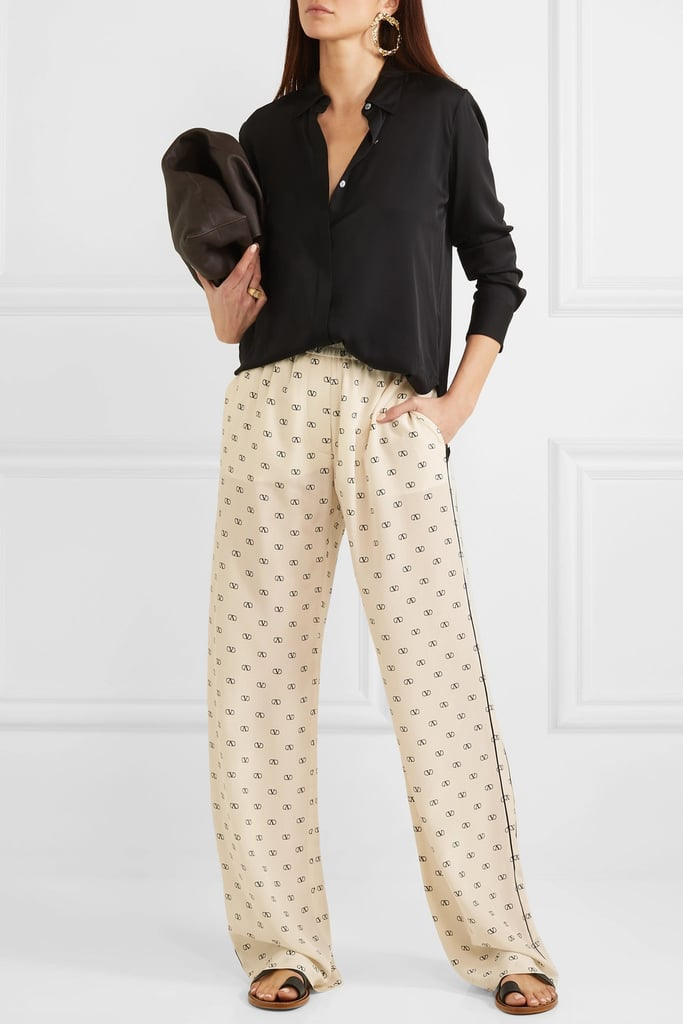 Valentino Piped printed silk crepe de chine pants