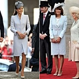 A Crisp Powder-Blue Coat With a Matching Hat and Taupe Pumps