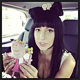 Lady Gaga posed with a stuffed pig (and brought back her old hairstyle). Source: Instagram user ladygaga