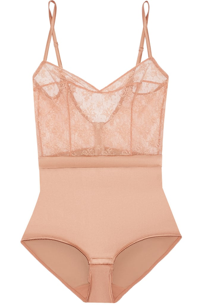 Eres Charivari Stretch-Lace and Silk-Blend Satin Bodysuit ($510)