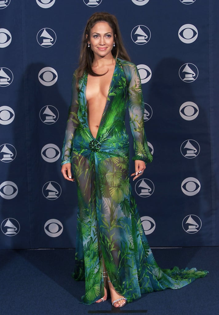 Jennifer Lopez Wearing Versace to the 2000 Grammy Awards