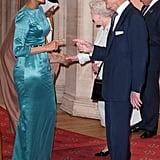 Sheikha Mozah bint Nasser Al-Missned of Qatar was greeted by Queen Elizabeth II and Prince Philip, Duke of Edinburgh, at a lunch for sovereign monarchs.
