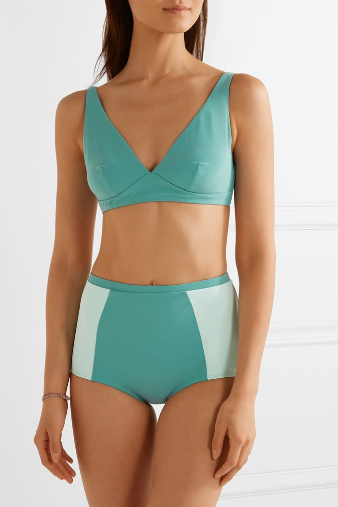 The contrasting panels on the Flagpole — Autumn Stephanie Bikini — Turquoise ($400) make these briefs curve-hugging in the best possible way.