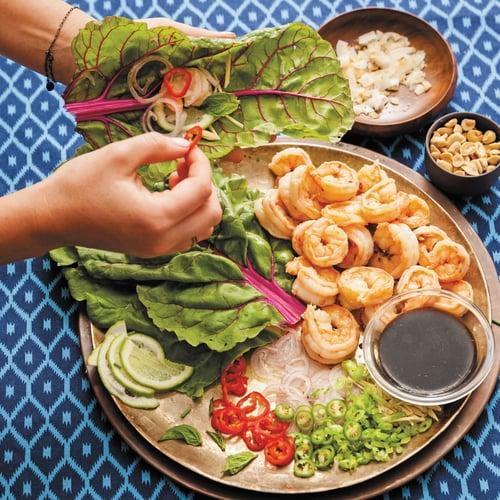Shrimp Swiss Chard Wraps