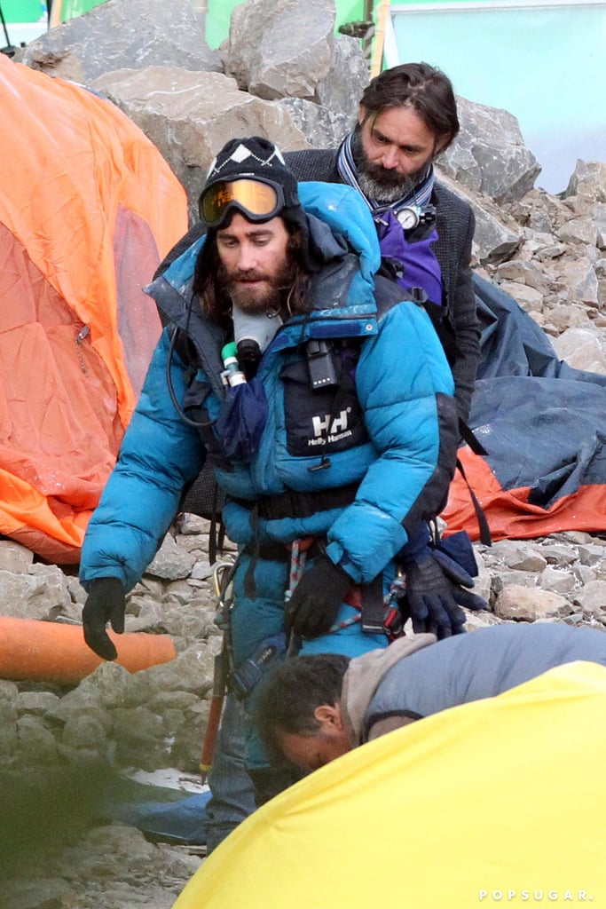 Jake Gyllenhaal filmed Everest in Rome on Wednesday while wearing full mountain-climbing gear.