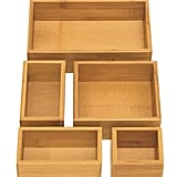 Seville Classics 5-Piece Bamboo Storage Box Set