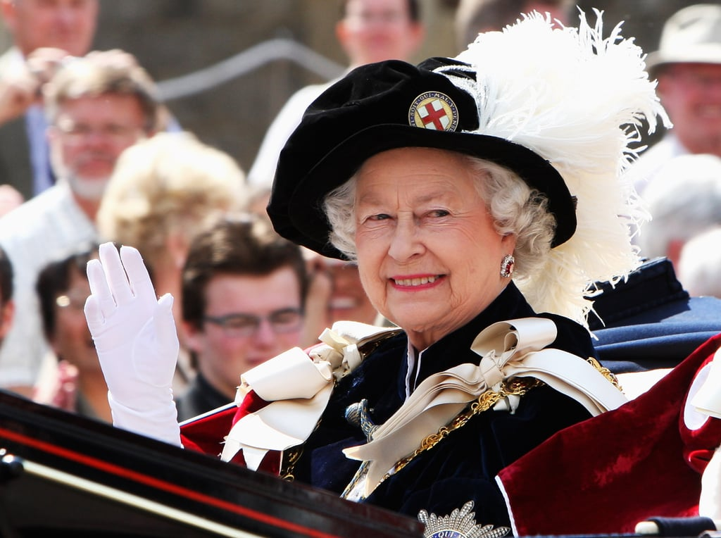 Queen Elizabeth II at the Order of the Garter's 660th anniversary service in June 2008.