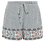 New Look blue tie waist tile print shorts (£15)