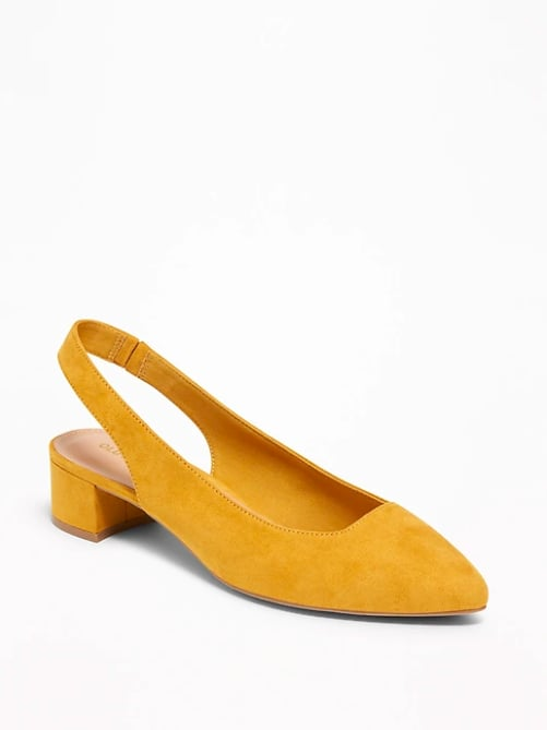 Faux Suede Sling Back Mid Heel Shoes | Summer Shoes From Old