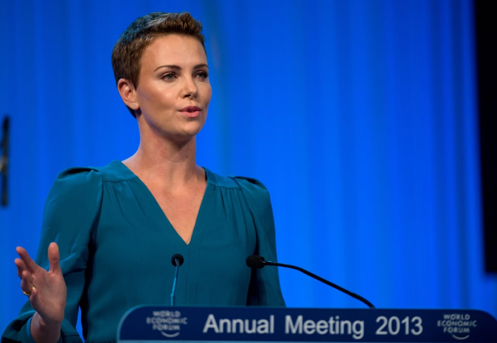 Charlize Theron spoke on stage.