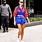 Hailey went the sporty route in this Heron Preston colourblock jacket, which she finished with Adidas sneakers and Céline sunglasses for an outing with Justin in NYC at the end of July.