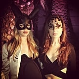 Zoe Lister Jones and a friend topped off their ensembles with dramatic headgear. Source: Instagram user zoelisterjones