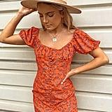 Floral Button-Front Mini Dress