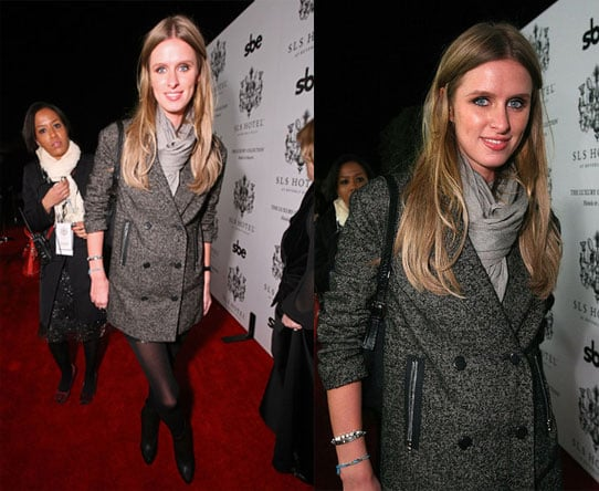 Nicky Hilton Attends the Grand Opening of the SLS Hotel at Beverly Hills in Tweed Coat and Scarf