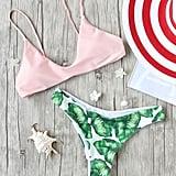 Shein Leaf-Print Sexy Bikini Set
