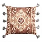 Rust Kilim Indoor Outdoor Throw Pillow With Tassels