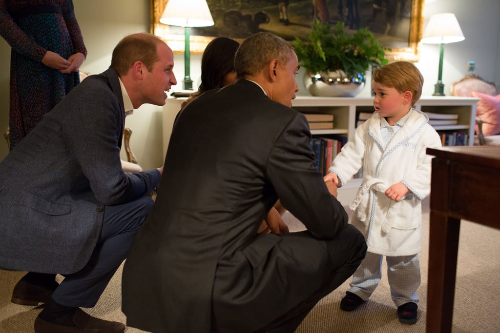 Prince George adorably met President Barack Obama and First Lady Michelle Obama in his pajamas when the couple visited the royal family in April.