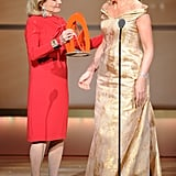 Barbara Walters presented Arianna Huffington with a 2011 Glamour Women of the Year award.