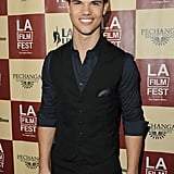 Taylor Lautner smiled for cameras at the LA Film Festival.