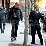 Jay-Z got into his car in NYC.