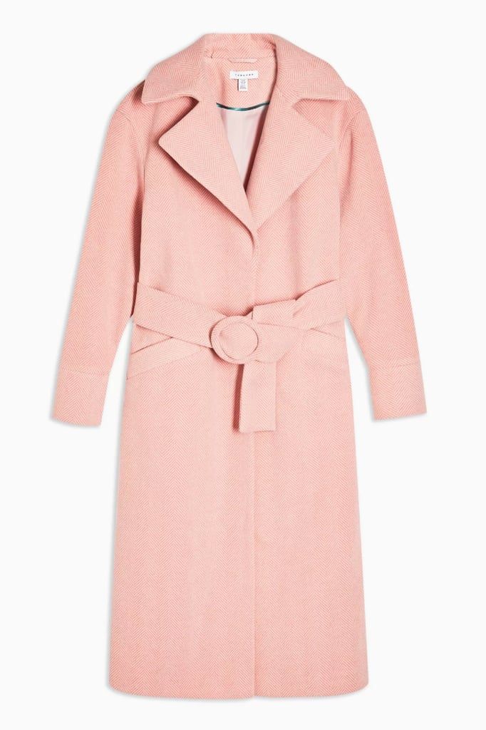 Topshop Pink Herringbone Coat