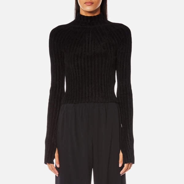 Helmut Lang Velveteen Cropped Jumper Black ($145, originally $480)