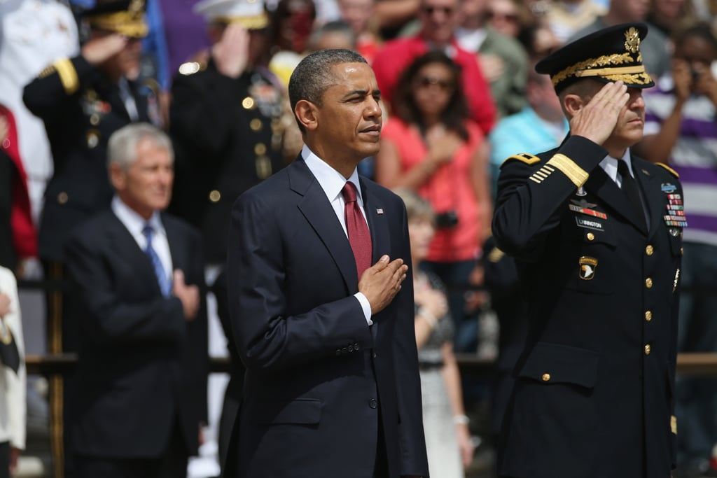 The president stood during a tribute to military veterans on Memorial Day.