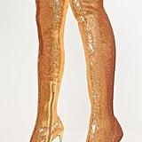 Pretty Little Thing Gold Over the Knee Sequin Sock Boots