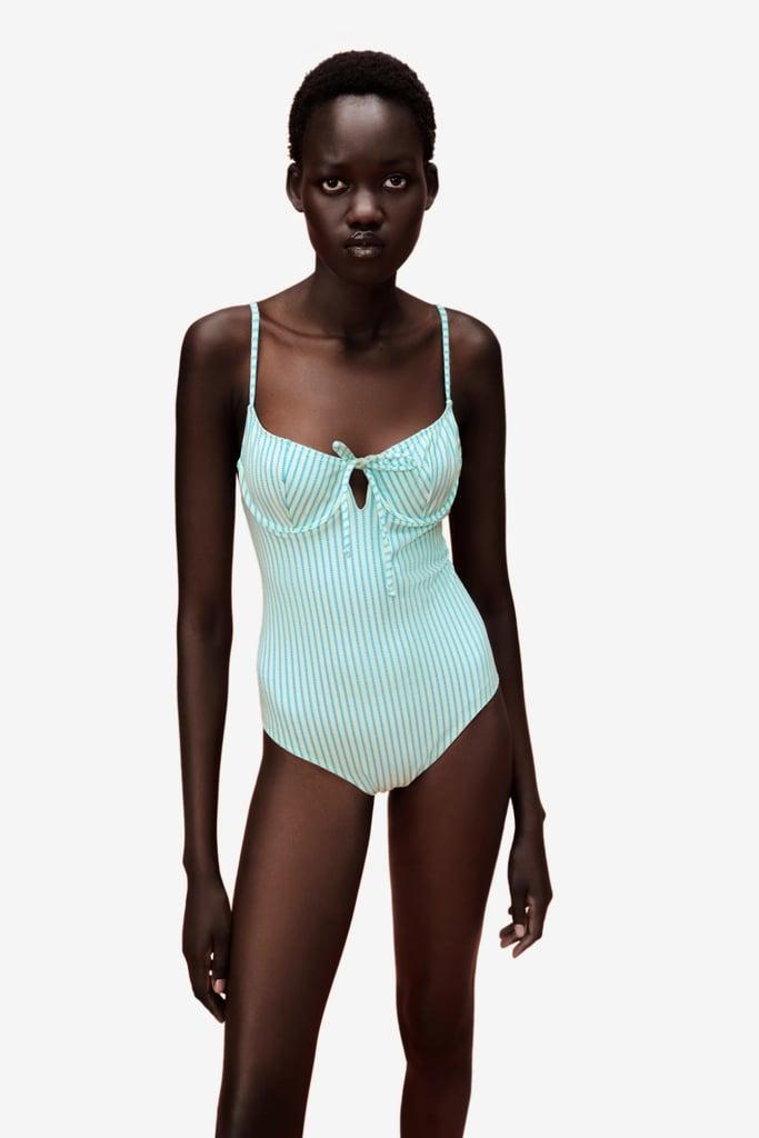 Zara Striped Underwire Swimsuit