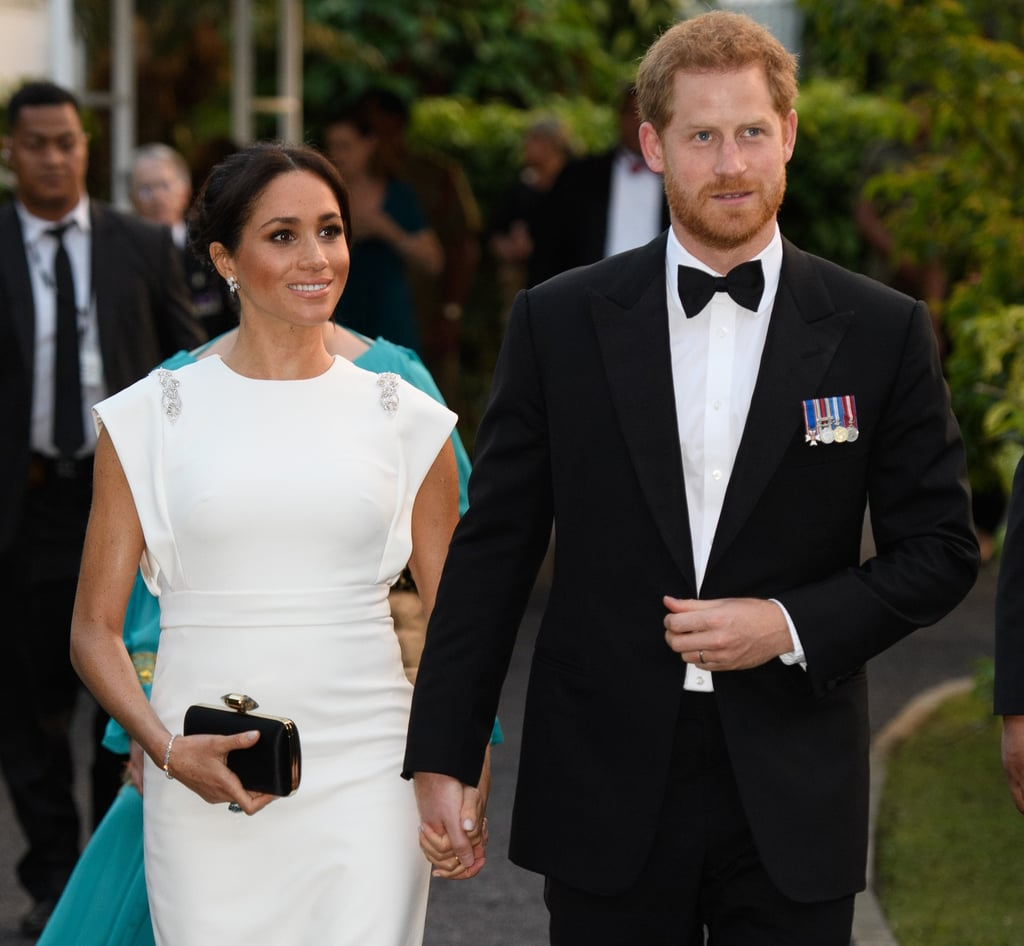 Meghan Markle White Theia Dress in Tonga October 2018