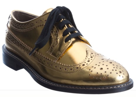 These Marni Metallic Wingtip Oxfords ($685) are a mix between classic oxfords and Dr. Martens — very cool.