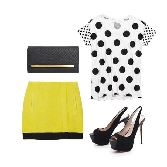 Get your black-and-yellow fix the easy way with a tonal skirt that does the work for you. All you have to do is add a fun top, like this polka-dot tee, and a hot pair of open-toe heels.  Asos Snake Bar Clutch ($20) Madewell Dotted Anywhere Tee ($45) Jean-Michel Cazabat Zelta Sling Back Sandals ($295) Diane von Furstenberg Kiki Bouclé Wool Blend Wrap Skirt ($300)