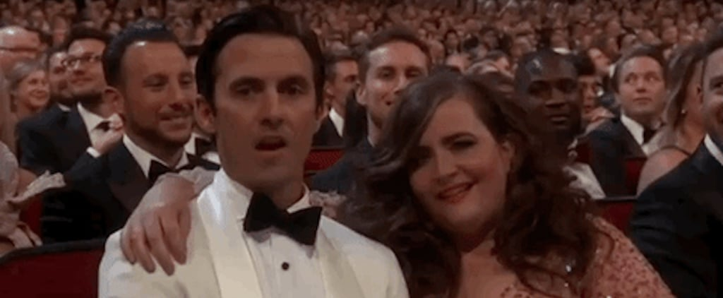 Aidy Bryant and Milo Ventimiglia at the 2018 Emmys