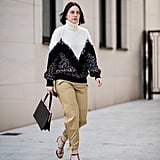 No-fuss styling solution? Just top cargo pants with a slouchy sweater and finish with heels.