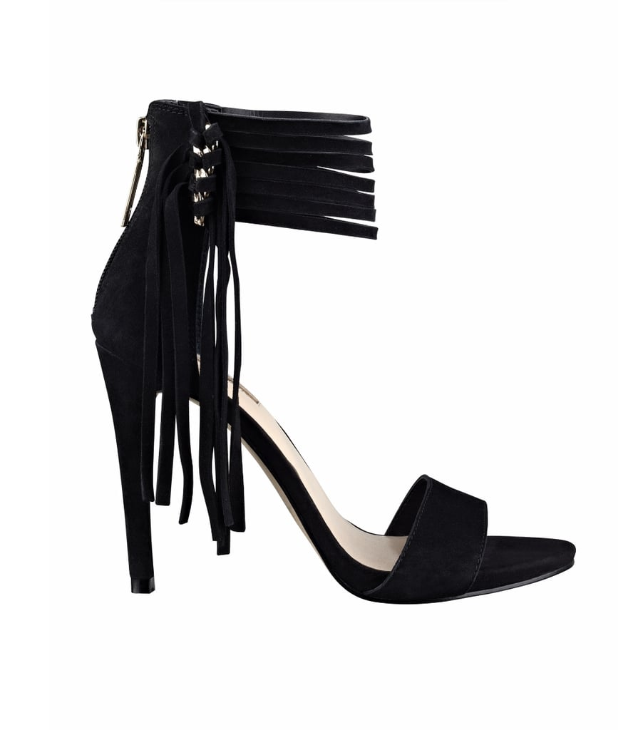 Not to be overlooked at Guess? The on-trend shoe section, which offers silhouettes with some of our favorite details. Take these Carlene heels ($120) for instance. Fringe, anyone?